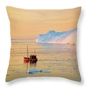 Lonely Boat - Greenland Throw Pillow