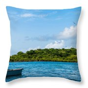 Lonely Boat Throw Pillow