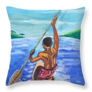 Lonely Boatman In Rwanda Throw Pillow