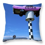 Lonely Diner With Pink Cadillac Throw Pillow