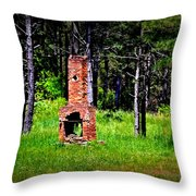 Lonely Fireplace Throw Pillow