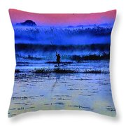 Lonely Fisher Throw Pillow