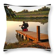 Lonely Guitarist Throw Pillow