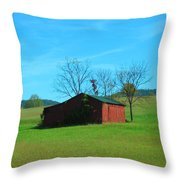 Lonely Hay Bale Throw Pillow