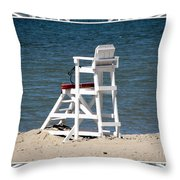 Lonely Lifeguard Station At The End Of Summer Throw Pillow