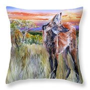Lonely Lobo Sunset Throw Pillow