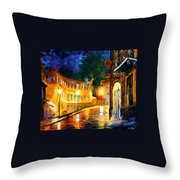 Lonely Night - Palette Knife Oil Painting On Canvas By Leonid Afremov Throw Pillow