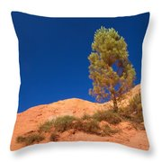 Lonely Pine On The Ocher Hill Throw Pillow