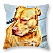 Lonely Pit Bull Throw Pillow