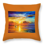 Lonely Sea 2 - Palette Knife Oil Painting On Canvas By Leonid Afremov Throw Pillow