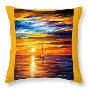 Lonely Sea 3 - Palette Knife Oil Painting On Canvas By Leonid Afremov Throw Pillow