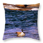 Lonely Swimmer Throw Pillow