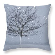 Lonely Tree In Snow Bavaria Throw Pillow