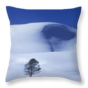 Lonely Tree In Winter Yellowstone National Park Throw Pillow