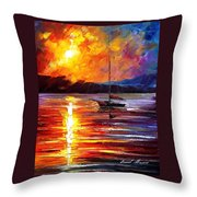 Lonely Yacht - Palette Knife Oil Painting On Canvas By Leonid Afremov Throw Pillow