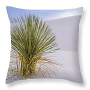 Lonely Yucca Plant In White Sands Throw Pillow