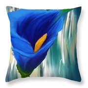 Lonesome And Blue- Blue Calla Lily Paintings Throw Pillow