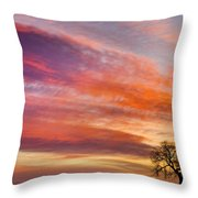 Lonesome Tree Sunrise Throw Pillow