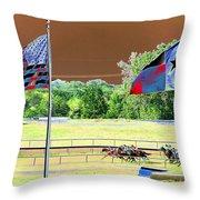 Lonestar Park - Backstretch - Photopower 2205 Throw Pillow
