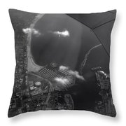 Long Beach Ca Aerial Bw Throw Pillow