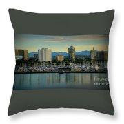 Long Beach Cityscape   Throw Pillow