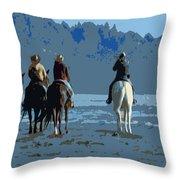 Long Beach Horses Study Throw Pillow