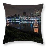 Long Beach Lights Throw Pillow