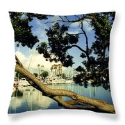 Long Beach Marina Throw Pillow