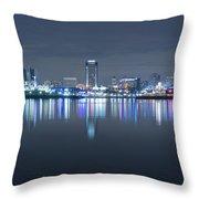 Long Beach Skyline Throw Pillow
