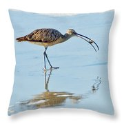 Long-billed Curlew With Crab Throw Pillow