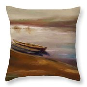 Long Boats At The Crossing Throw Pillow