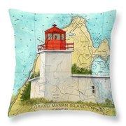 Long Eddy Pt Lighthouse Nb Canada Chart Art Peek Throw Pillow