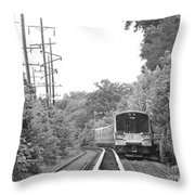Long Island Railroad Pulling Into Station Throw Pillow