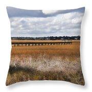 Long Marsh Dock Throw Pillow