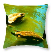 Long Neck Ducks Throw Pillow