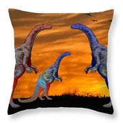 Long Necked Long Tailed Family Of Dinosaurs At Sunset Throw Pillow