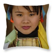 Long Necked Woman Of Thailand Throw Pillow