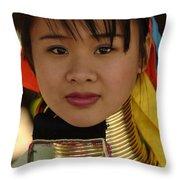 Long Necked Woman Thailand 4 Throw Pillow
