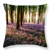Long Shadows In Bluebell Woods Throw Pillow