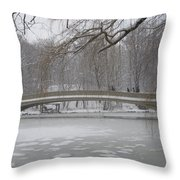 Long Snow Covered Bridge Throw Pillow