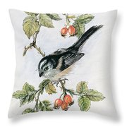 Long Tailed Tit And Rosehips Throw Pillow