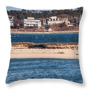 long view of Brant point lighthouse Throw Pillow