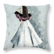 Long White Skirt And Black Sequined Hat Fashion Illustration Art Print Throw Pillow by Beverly Brown