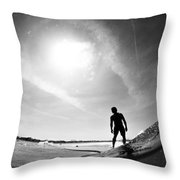 Longboarder Riding A Small Wave Throw Pillow
