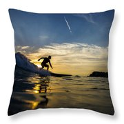 Longboarding Into The Sunset Throw Pillow