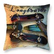Longboards Throw Pillow