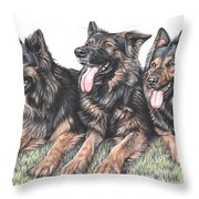 Longhaired German Shepherds Throw Pillow