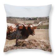 Longhorn Life Throw Pillow