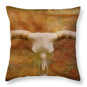 Longhorn Of Texas Throw Pillow by Jack Zulli