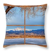 Longs Peak Across The Lake Barn Wood Picture Window Frame View Throw Pillow